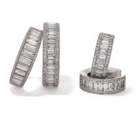 Rings and Earrings with White Diamonds